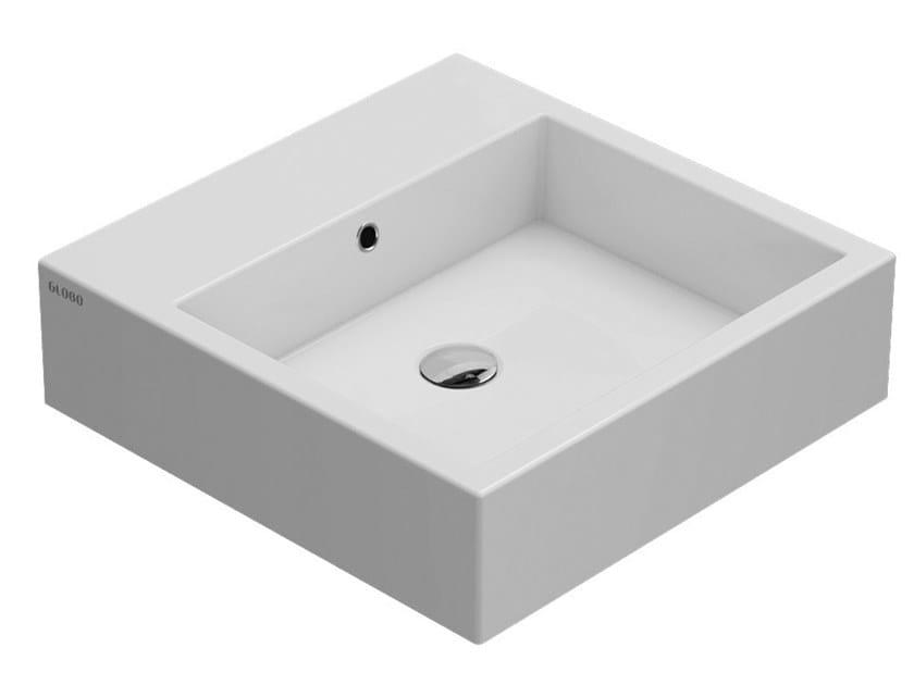 Countertop square ceramic washbasin STONE   Square washbasin by Ceramica Globo