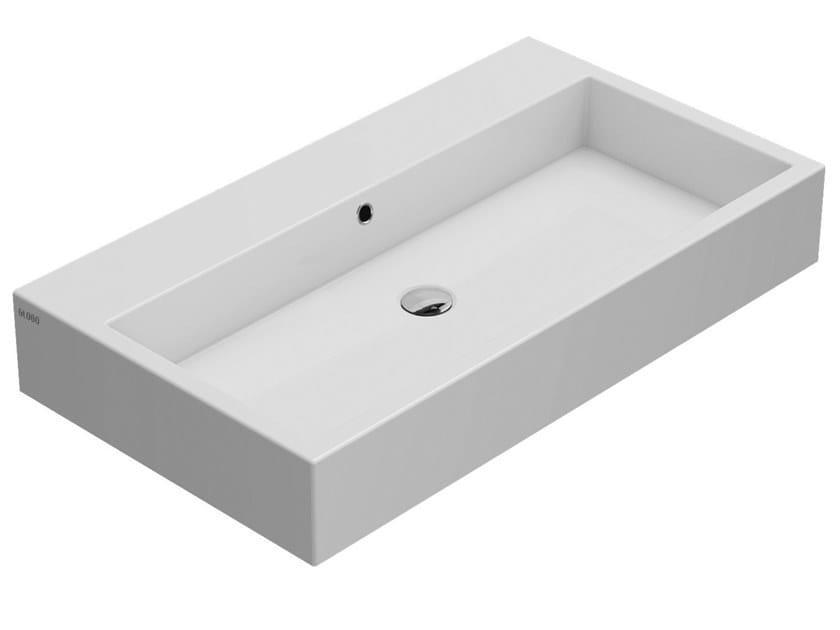 Rectangular single ceramic washbasin STONE | Wall-mounted washbasin by Ceramica Globo