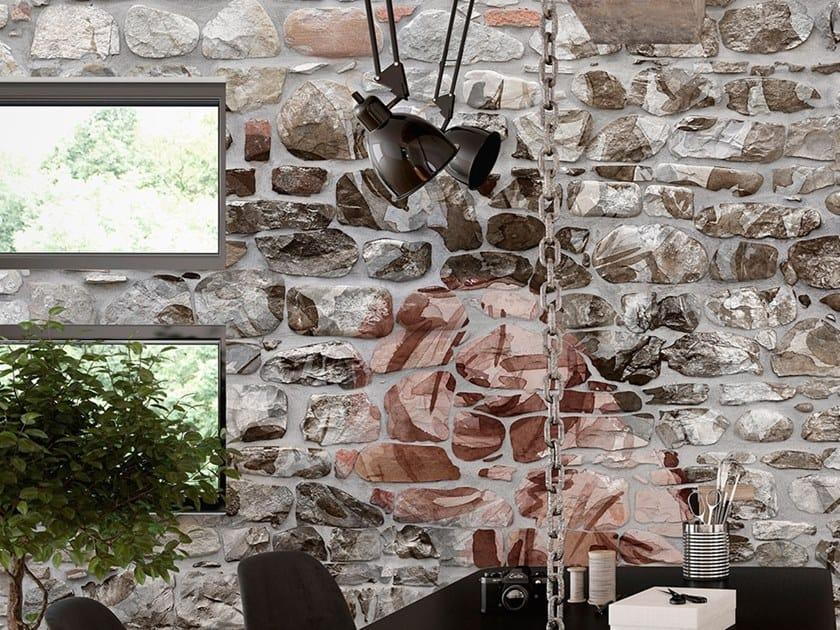 Stone effect fire retardant glass-fibre wallpaper STONE WALL by Tecnografica Italian Wallcoverings