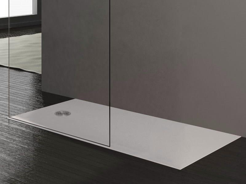 Flush fitting rectangular shower tray STONE WHITE by Alice Ceramica