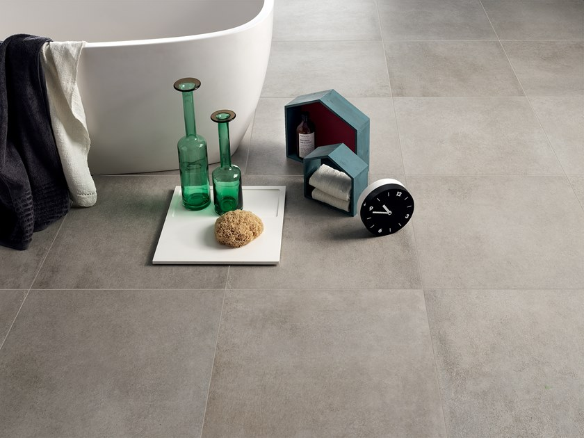 Full-body porcelain stoneware flooring with stone effect STONECLAY CENDRE by LEA CERAMICHE