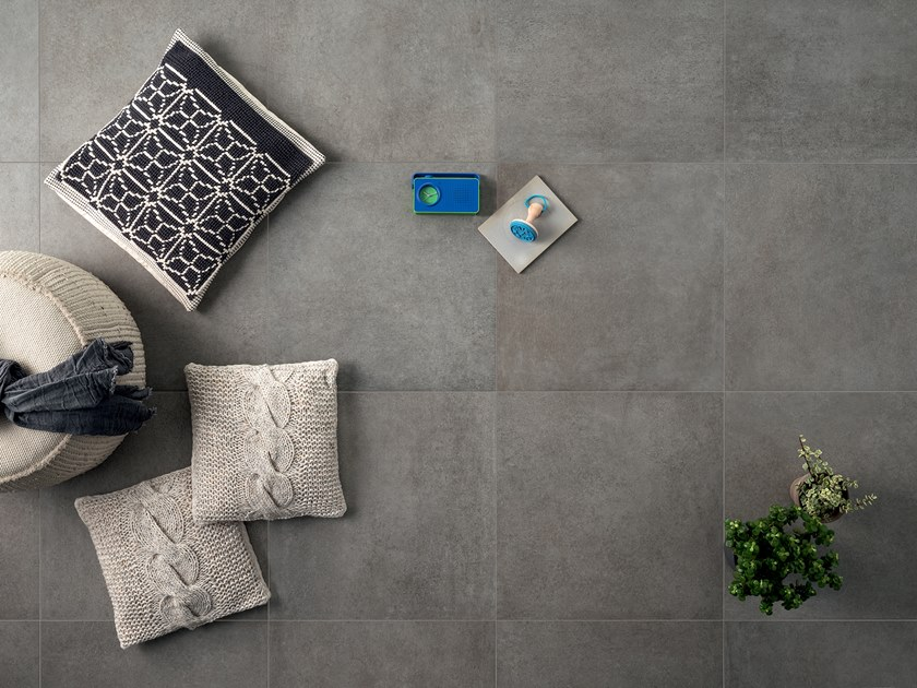 Full-body porcelain stoneware flooring with stone effect STONECLAY CHARCOAL by LEA CERAMICHE
