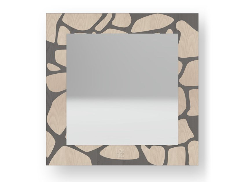 Square wall-mounted framed mirror STONES COLD | Mirror by LIGNIS®