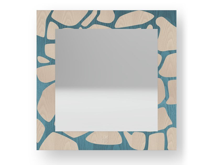 Square wall-mounted framed mirror STONES COLORS | Mirror by LIGNIS®