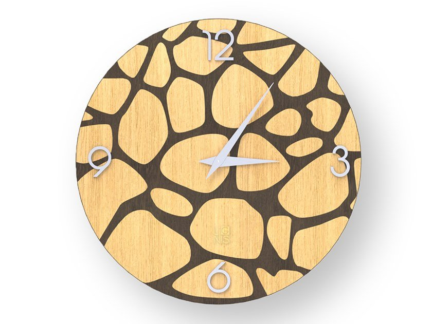 Wall-mounted wooden clock STONES WARM | Clock by LIGNIS®