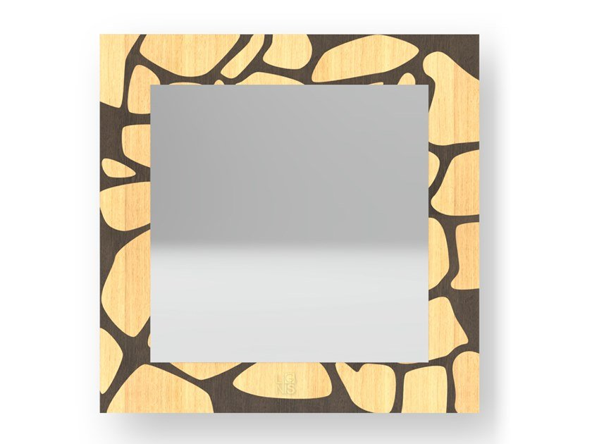 Square wall-mounted framed mirror STONES WARM | Mirror by LIGNIS®