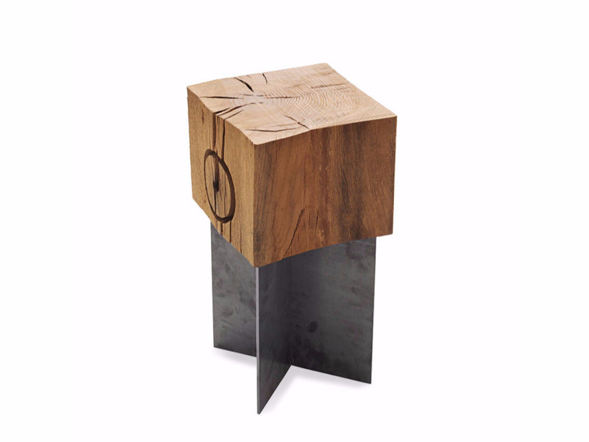 Low stool Bean wood and metal by Arcom