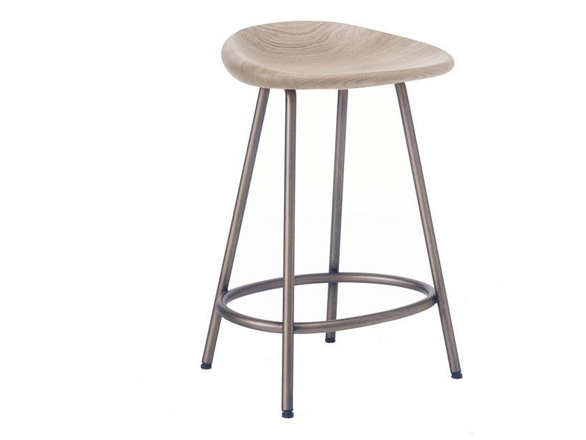Steel and wood stool PEBBLE | Stool by BassamFellows