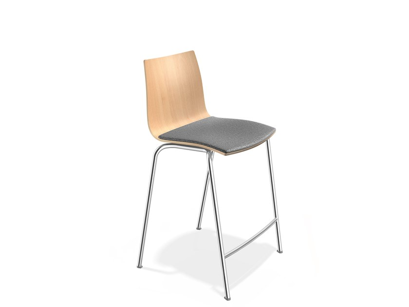Upholstered beech stool with footrest ONYX BARSTOOL | Stool by Casala
