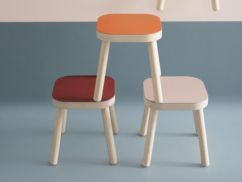 Stool with linoleum finish Stool by Forbo