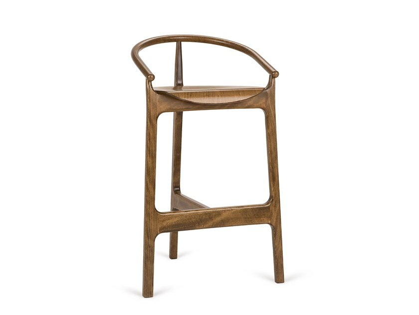 High beech stool with back EVO H-2940 by Paged