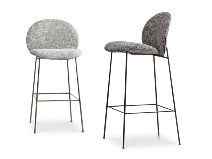 High fabric stool with back OLA | Stool by Saba Italia