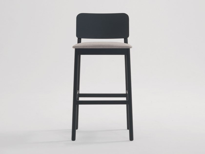 High fabric stool with integrated cushion with footrest LAKY | Stool by SF Collection
