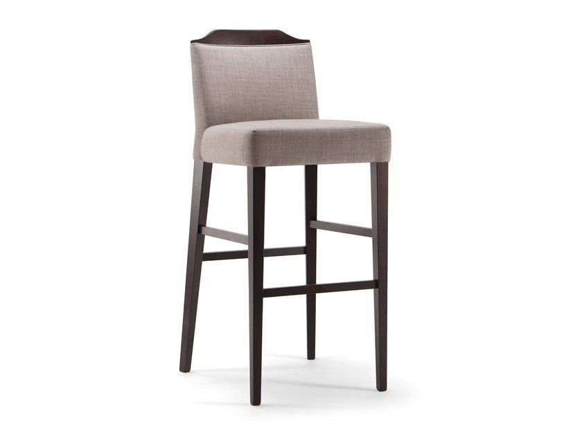 Upholstered solid wood stool with back with footrest BOSTON | Stool by Tirolo