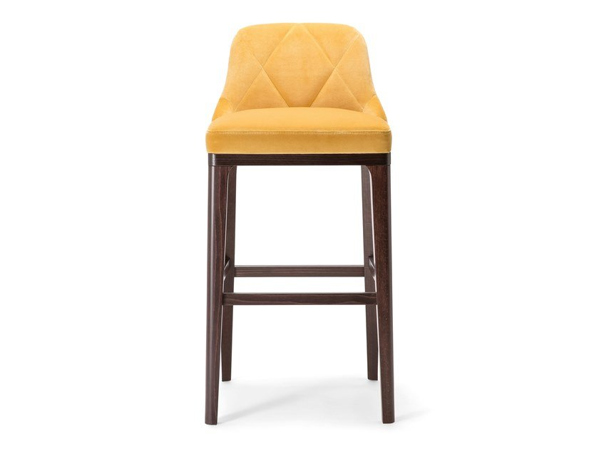 Solid wood and fabric stool with bak GILL | Stool by Tirolo