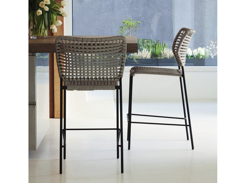 High rope stool with back CORDA | Stool by Tonon
