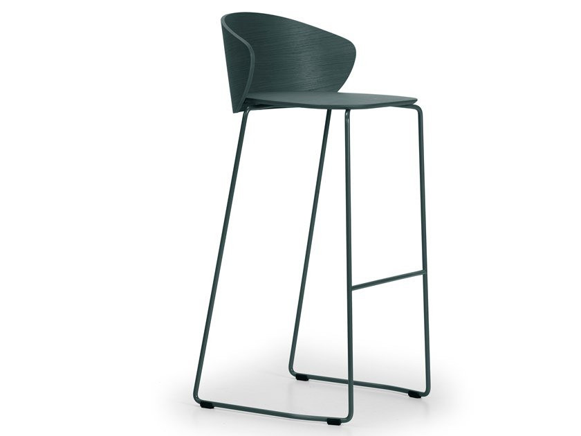 High stackable sled base steel and wood stool NOT WOOD | High stool by True Design