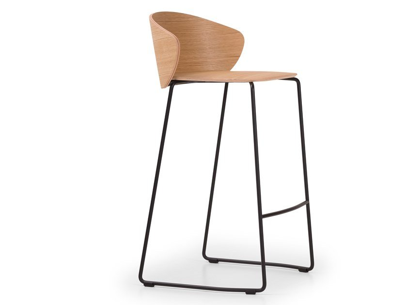 Stackable sled base steel and wood stool NOT WOOD | Stool by True Design