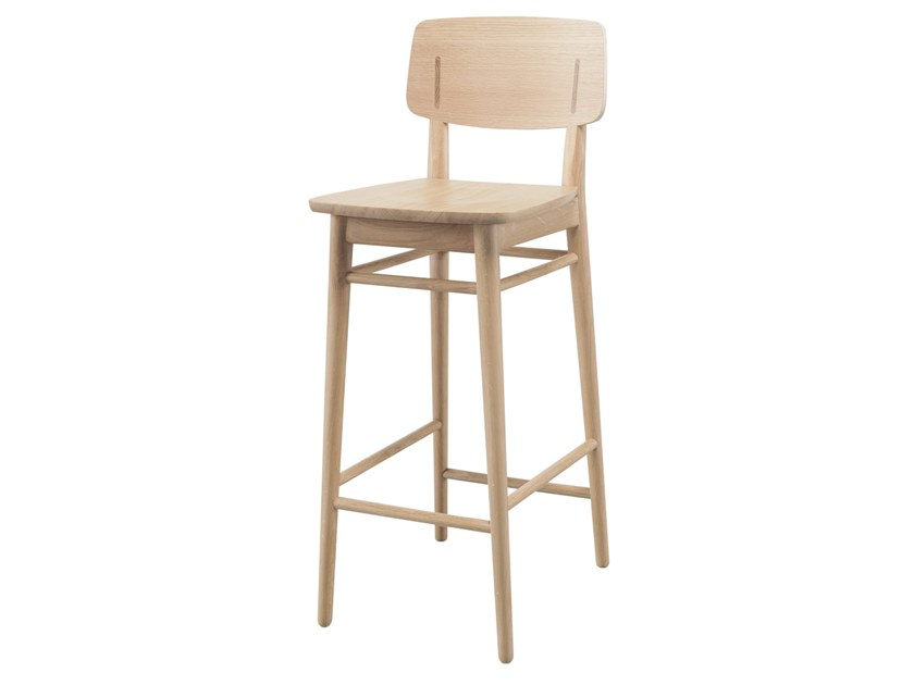 High wooden stool with footrest COUNTRY | Stool by Wewood
