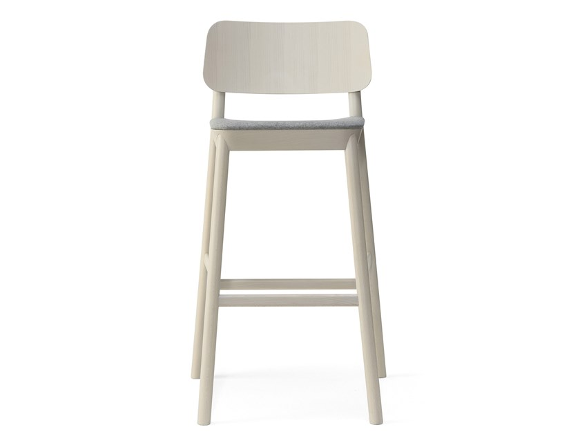 High beech stool with back DRUM | Stool with back by BILLIANI
