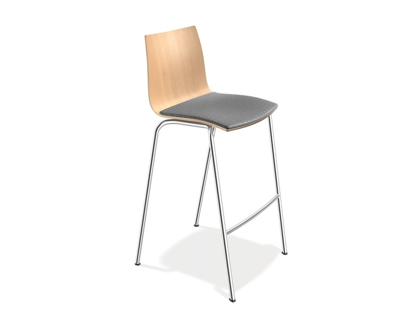 Upholstered beech stool with footrest ONYX BARSTOOL | Stool with footrest by Casala