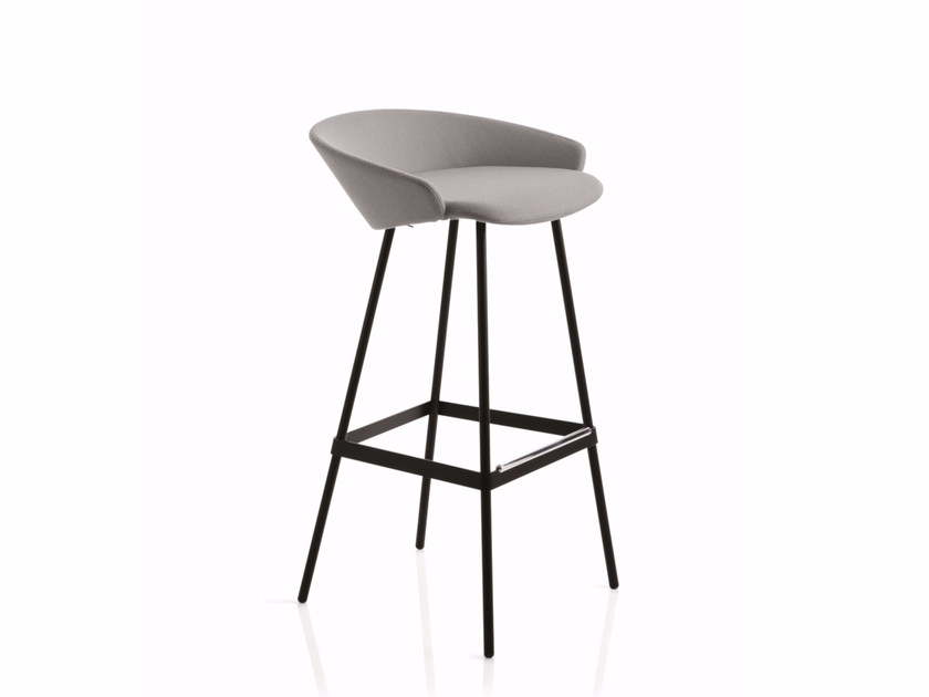High fabric stool with footrest KARL | Stool with footrest by Emmegi
