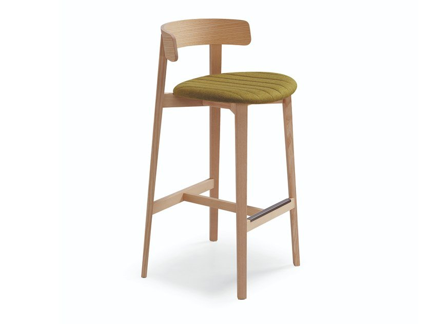 High fabric stool with integrated cushion with back MAYA | Stool with integrated cushion by Midj