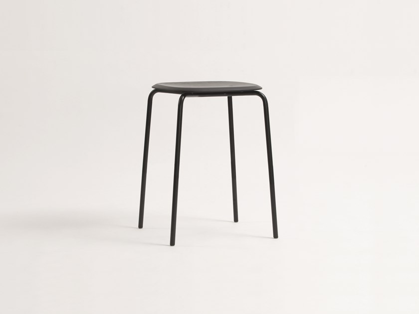 Low stackable steel and wood stool OKITO | Low stool by ZEITRAUM