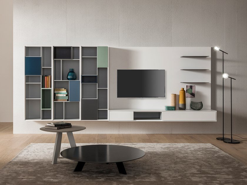 Wall-mounted lacquered TV wall system ATENEO | Storage wall by Capo d'Opera