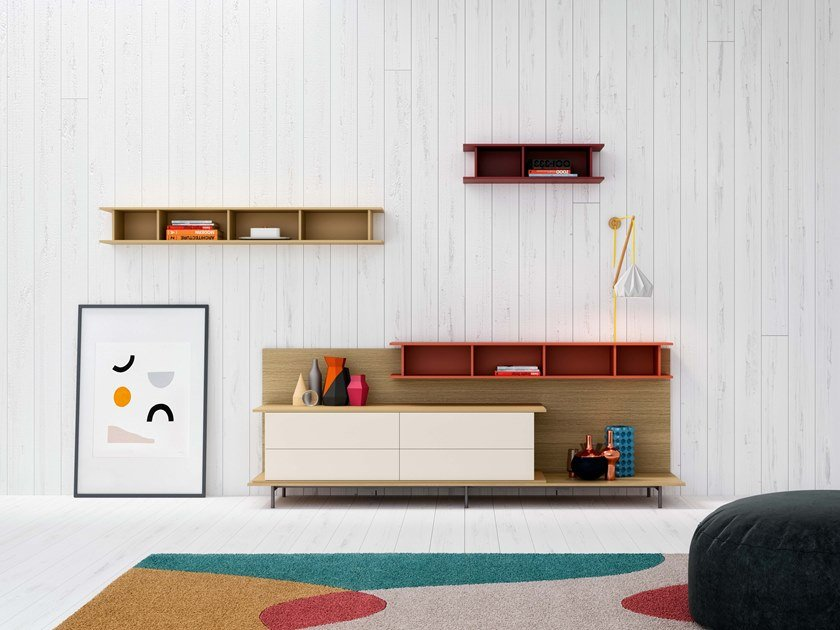 Sectional wall-mounted storage wall 7FOR | Storage wall by SCULPTURES JEUX