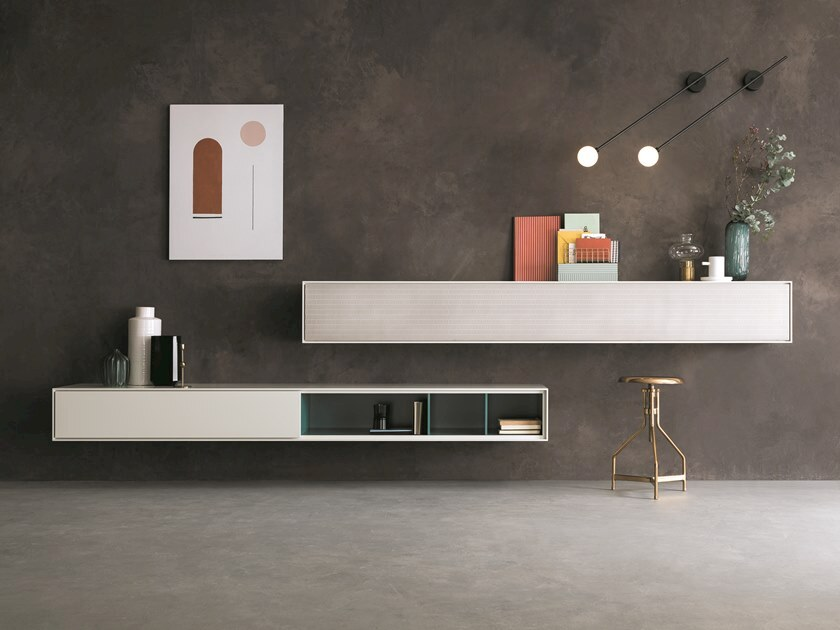 Wall-mounted lacquered storage wall ATENEO   Storage wall with secretary desk by Capo d'Opera