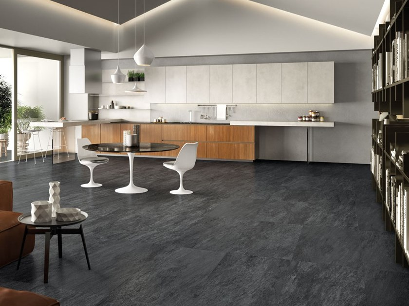 Indoor/outdoor porcelain stoneware wall/floor tiles STORM DARK by La Fabbrica