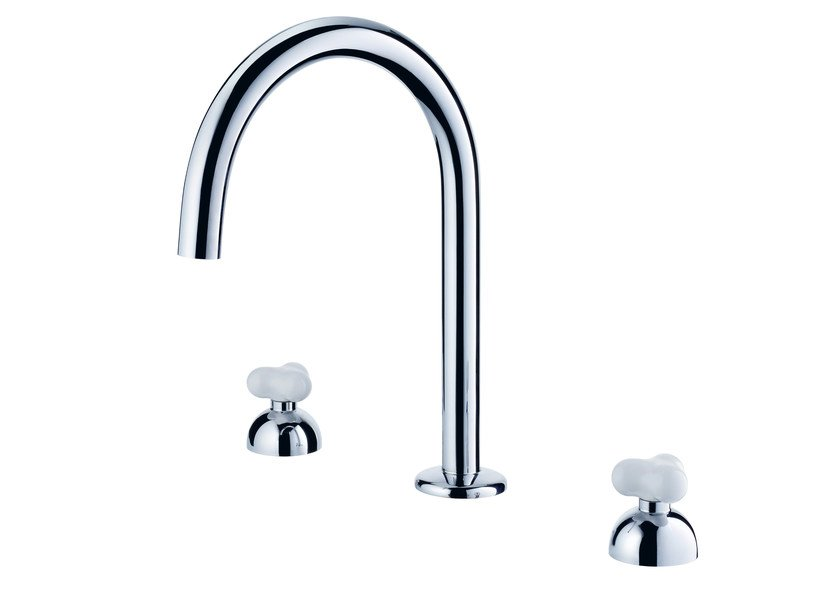 3 hole countertop chromed brass kitchen tap with swivel spout STORY | Kitchen tap by JUSTIME