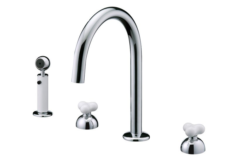 Countertop chromed brass kitchen tap with pull out spray STORY | Kitchen tap with pull out spray by JUSTIME