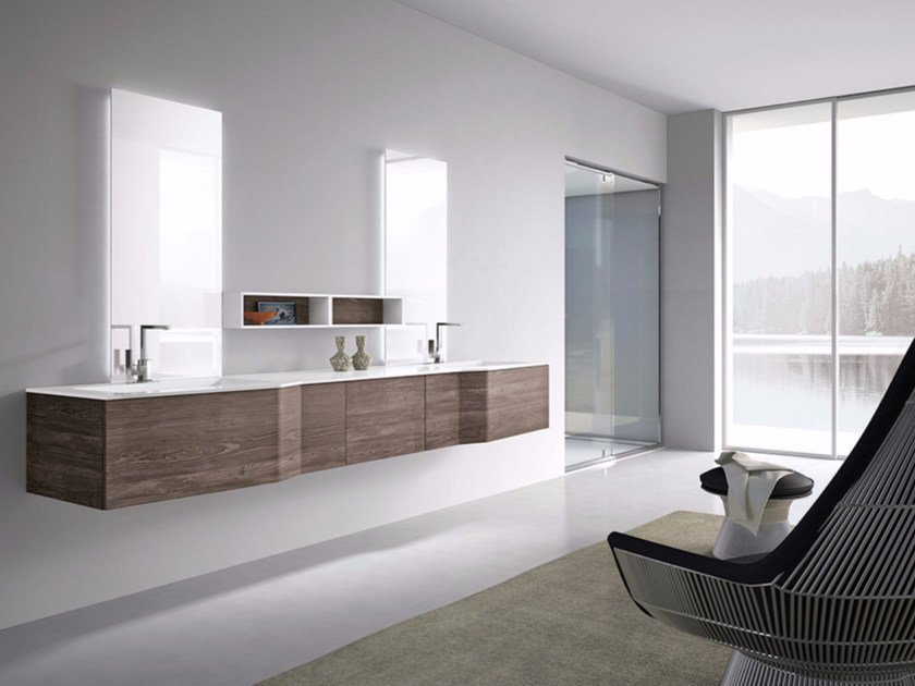 Double Wall Mounted Vanity Unit With Mirror Str8 05 By Gruppo Geromin
