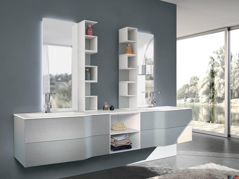 Mobile lavabo doppio sospeso con specchio STR8 105 Gruppo