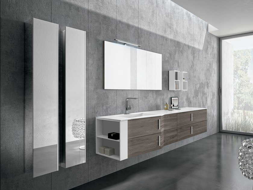 Wall-mounted vanity unit with drawers STR8 106 by Gruppo Geromin