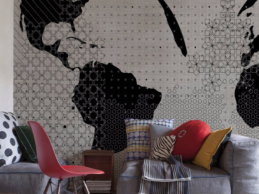 Panoramic wallpaper with textile effect STRANGE WORLD by Inkiostro Bianco