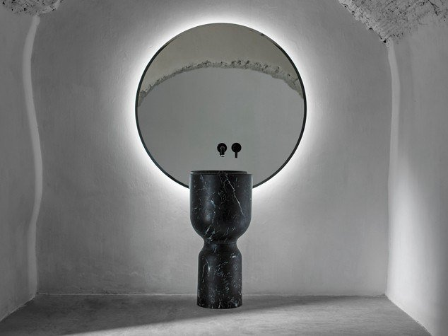 Freestanding round single marble washbasin ORIGIN | Freestanding washbasin by INBANI