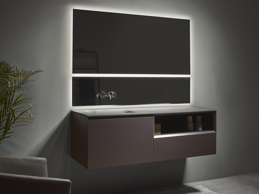 Single vanity unit with mirror STRATO | Wall-mounted vanity unit by INBANI