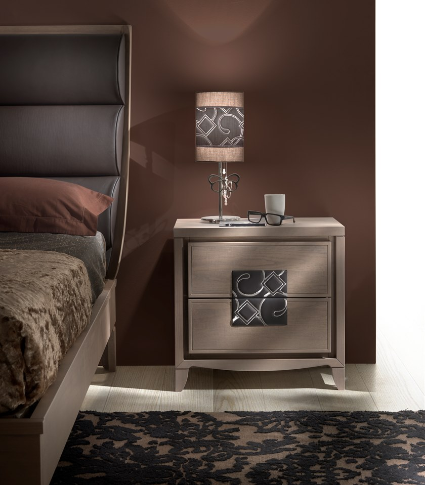 Rectangular wooden bedside table with drawers STREET | Bedside table by MOLETTA