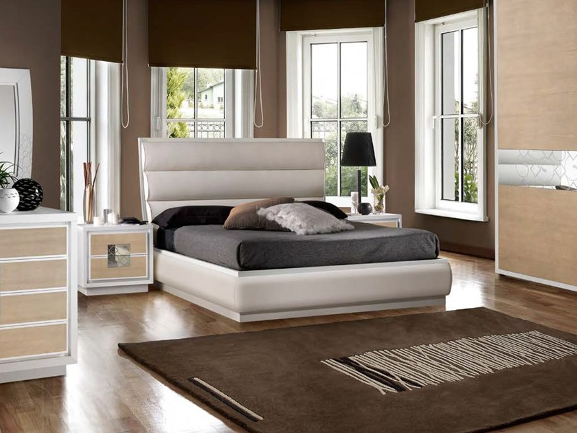 Upholstered leather storage bed STREET | Storage bed by MOLETTA