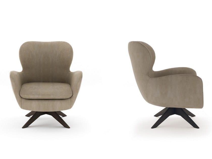 Swivel leather armchair with 4-spoke base STRESA | Swivel armchair by NICOLINE