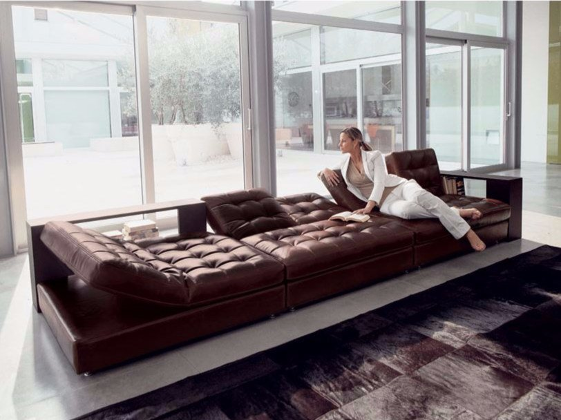 Tufted leather sofa STRIKE | Sofa by Longhi