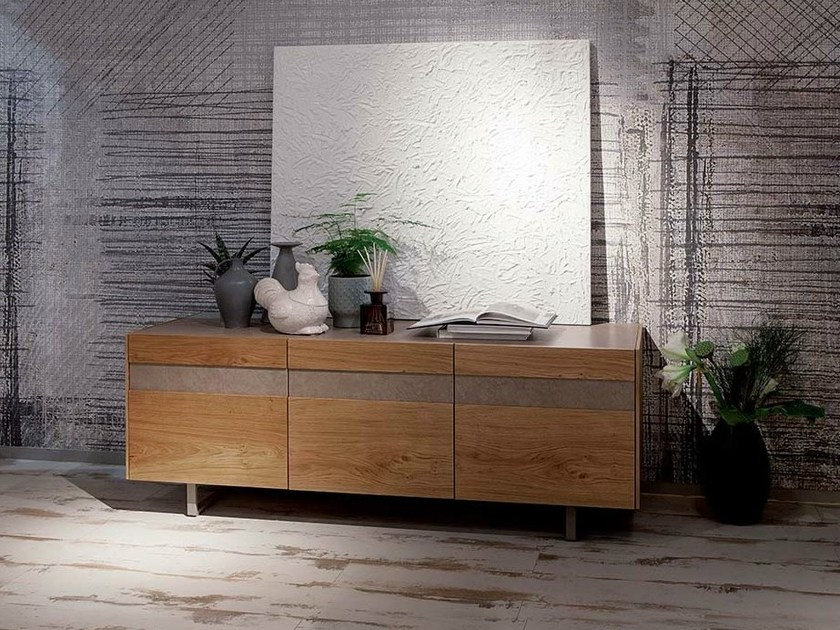 Lacquered wooden sideboard with doors STRIPE by Ozzio Italia