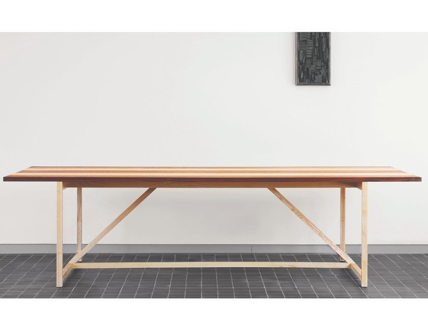 Rectangular solid wood table STRIPE   Table by BassamFellows