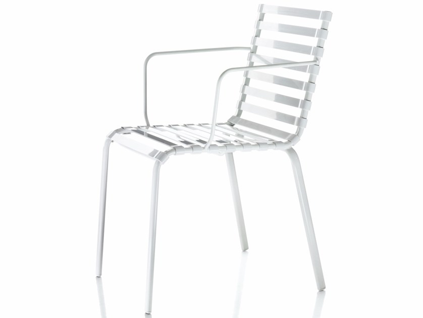 Stackable chair with armrests STRIPED | Chair with armrests by Magis