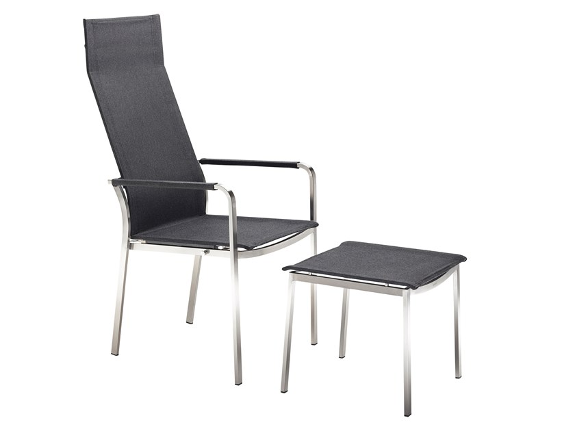 High-back fabric garden chair with armrests STUDIO | High-back chair by solpuri