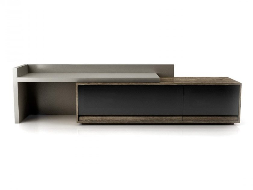Lacquered wood and glass TV cabinet with drawers STUDIO | Lacquered TV cabinet by Huppé