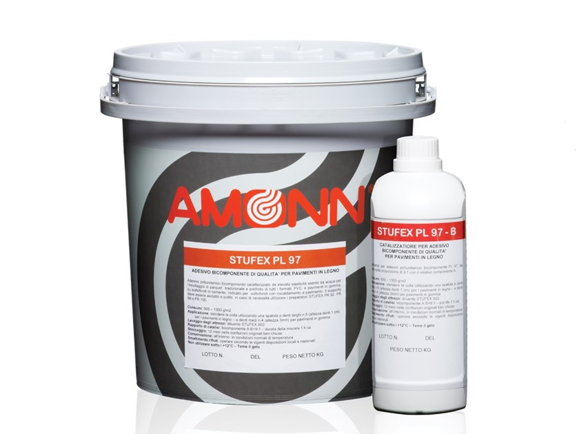 Hypoallergenic adhesive for wood flooring STUFEX PL 97 by J.F. AMONN